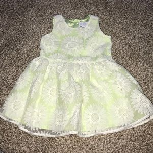 Gorgeous green layered dress with white embroidery